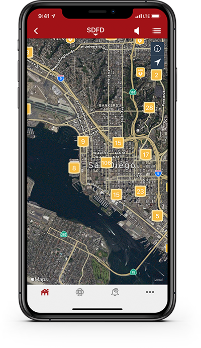 Clustered AEDs displayed on PulsePoint AED registry app.