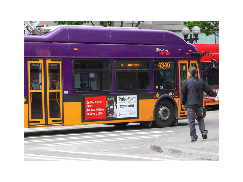 King County Seattle PulsePoint Bus Signage Marketing.