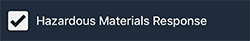 Notification checkbox for Hazardous Materials Response.