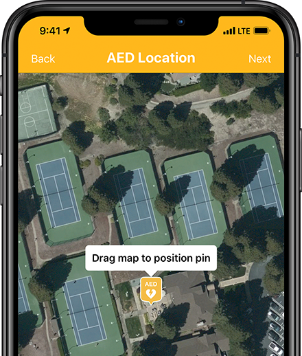 Accurately specifying an AED location for use in the PulsePoint Registry.