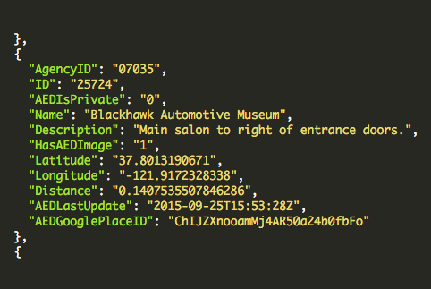 PulsePoint Registry API showing programmatic access to AED information stored in the registry.