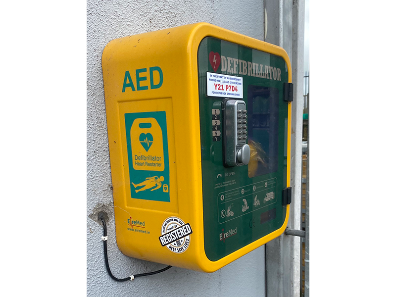 PulsePoint AED Registered Sticker on cabinet