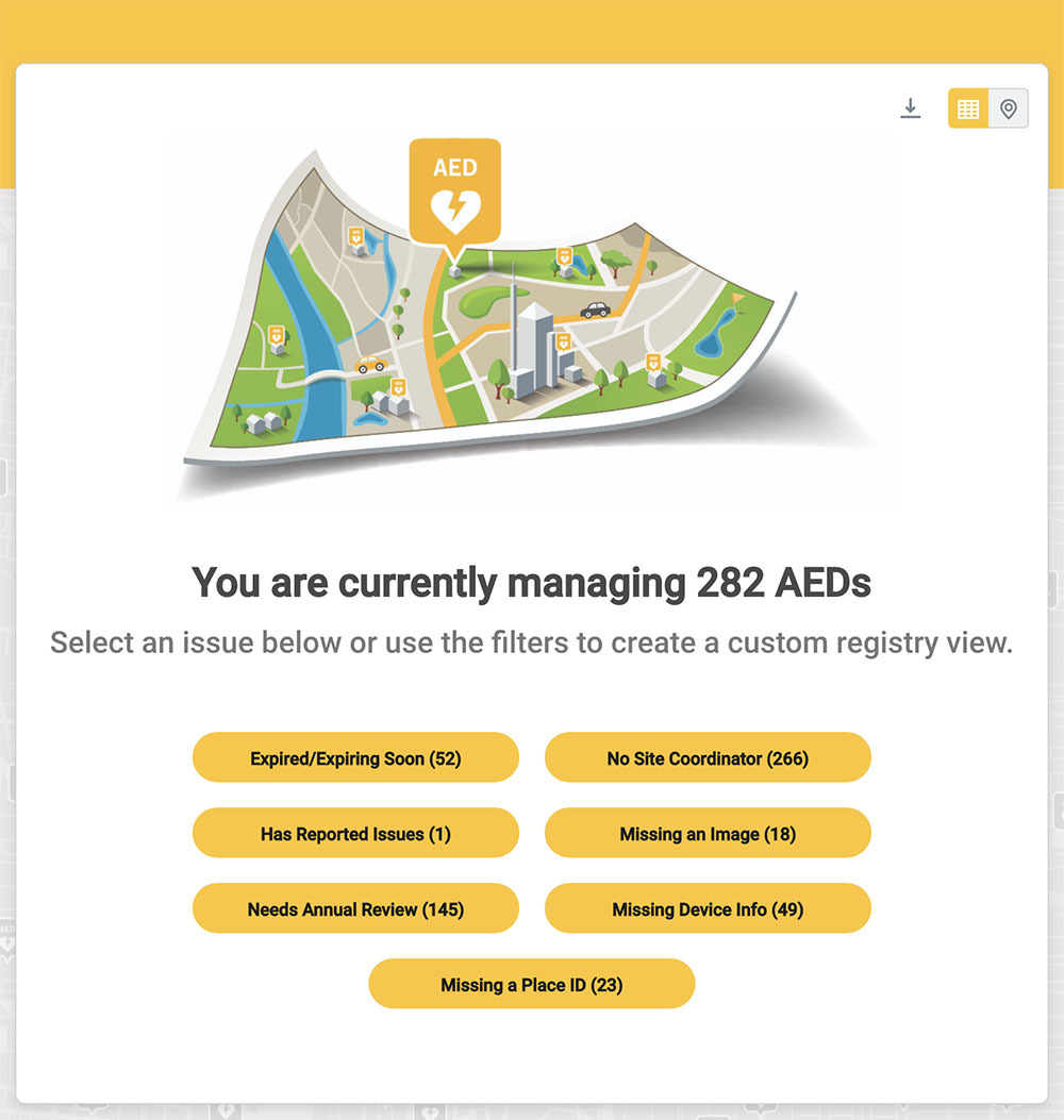 PulsePoint AED Registry Issue Buttons