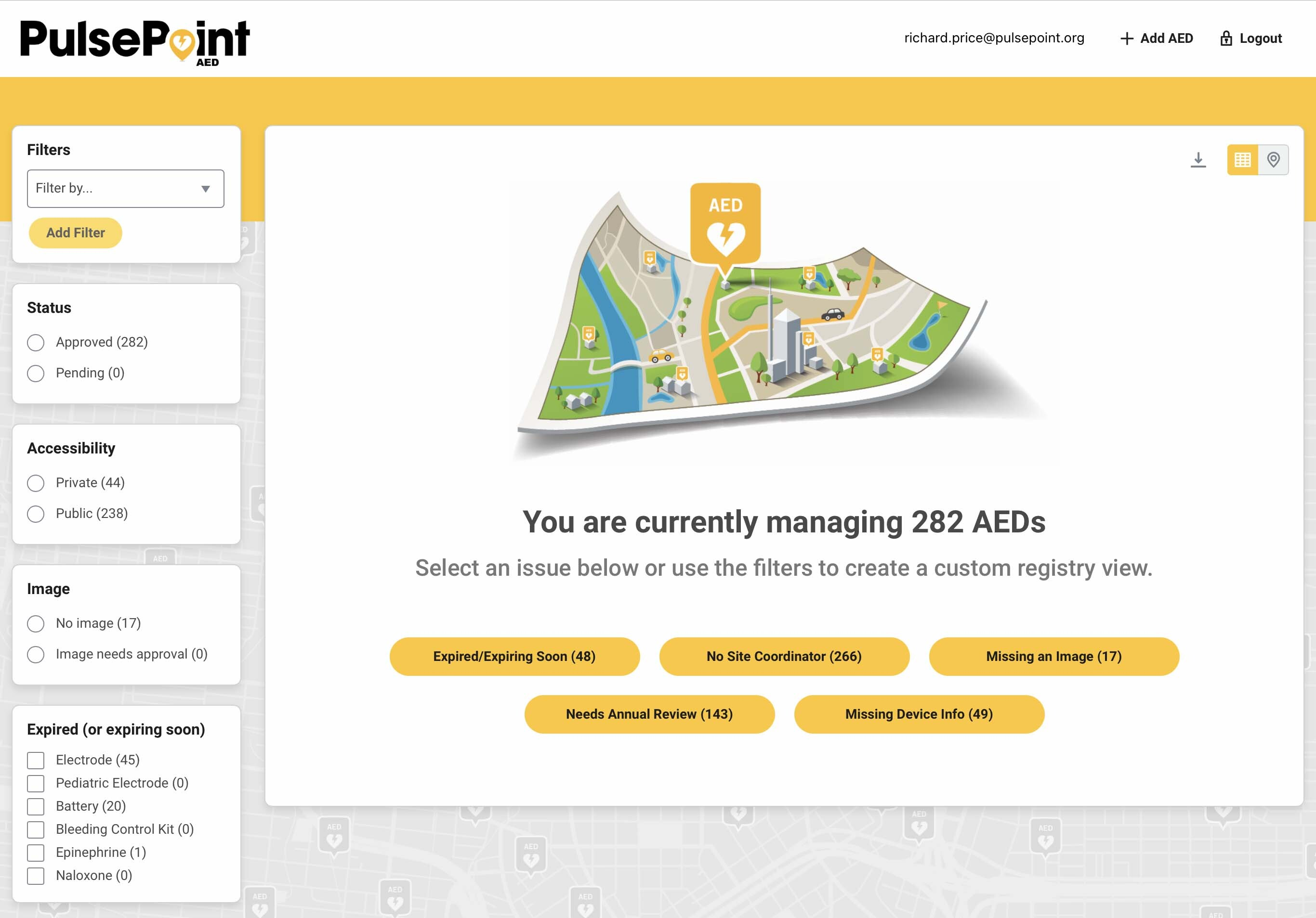 PulsePoint AED Registry Management