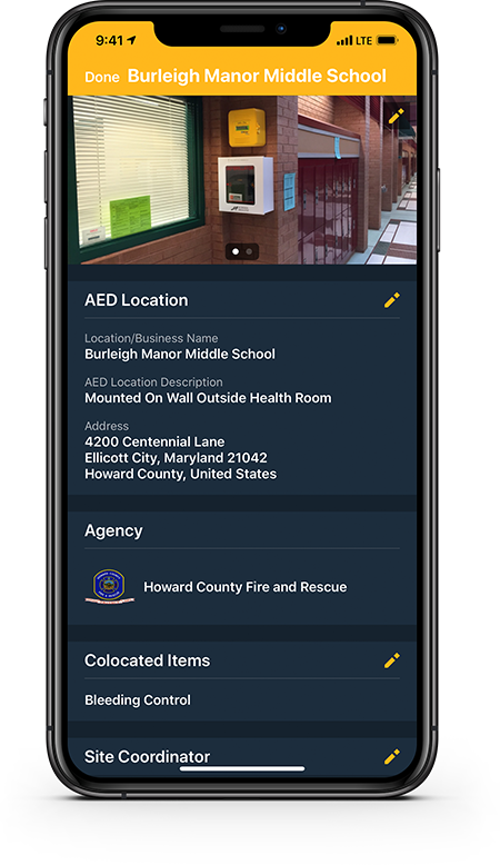 Edit the complete AED record using a mobile device – no desktop needed.