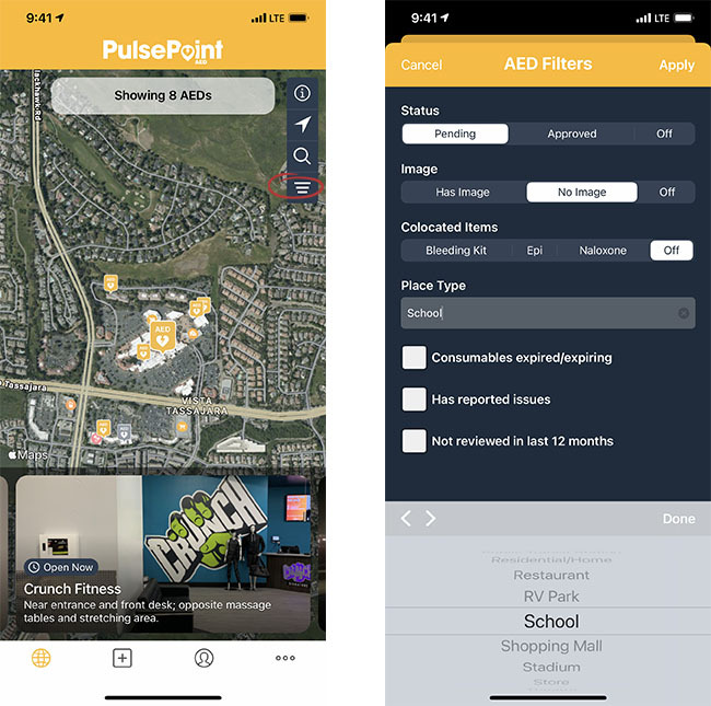 PulsePoint AED Filter