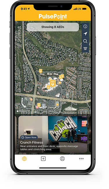 Phone displaying PulsePoint AED app.