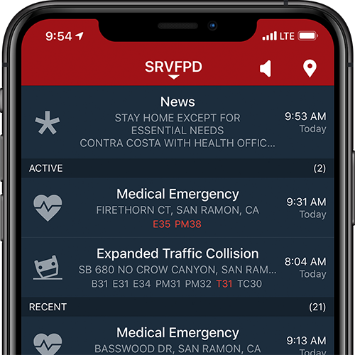 PulsePoint Agency Message pinned to the top of the incident list