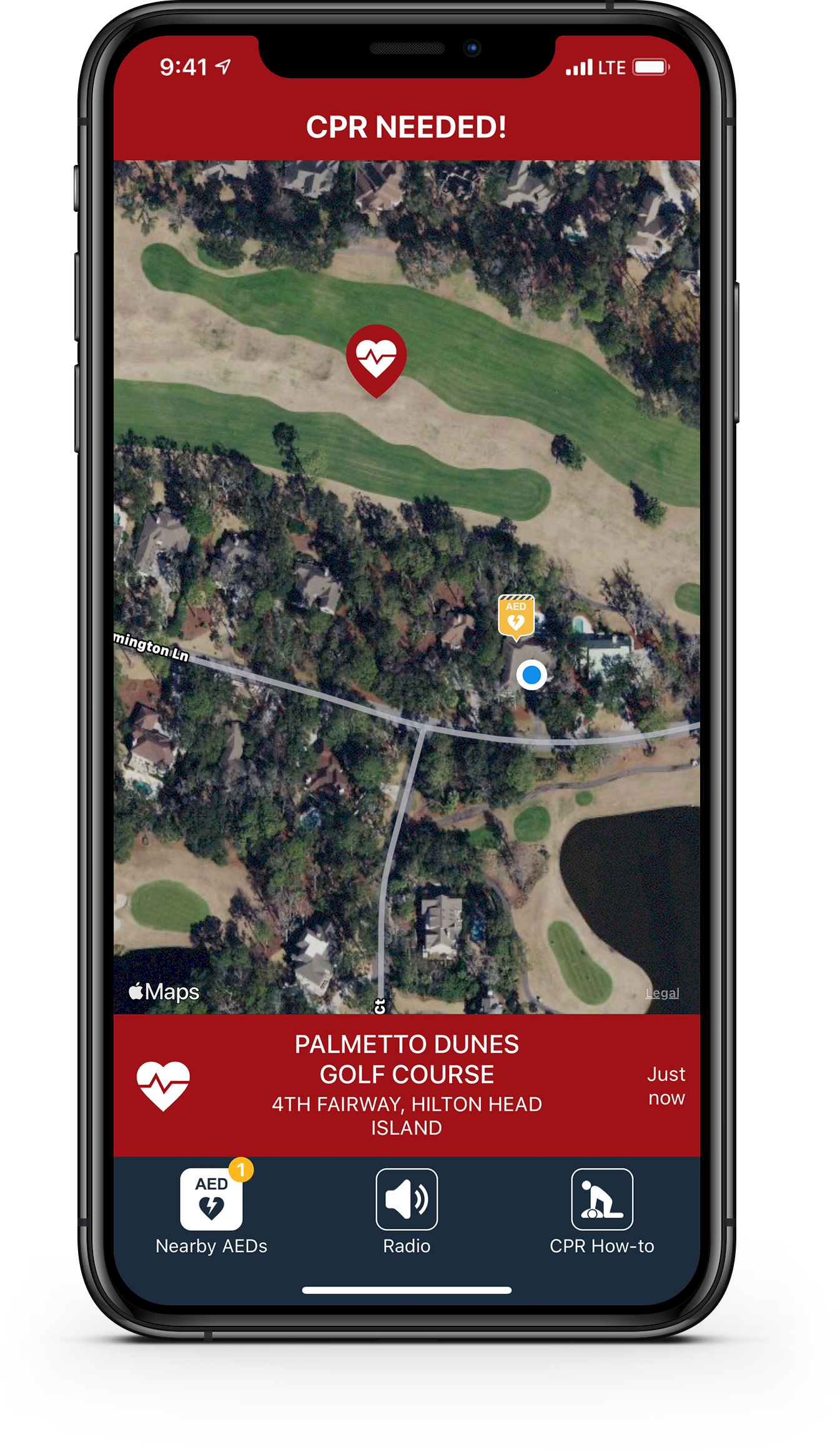 PulsePoint Respond CPR-needed screen.