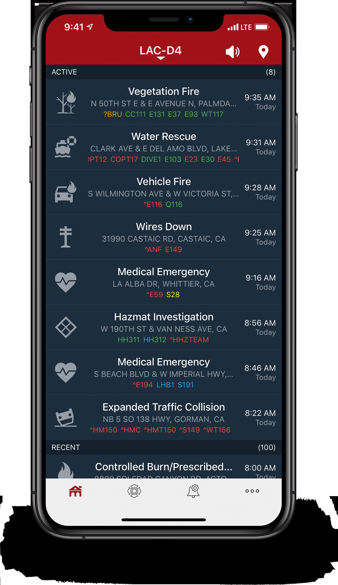 PulsePoint Respond Incident List screen.