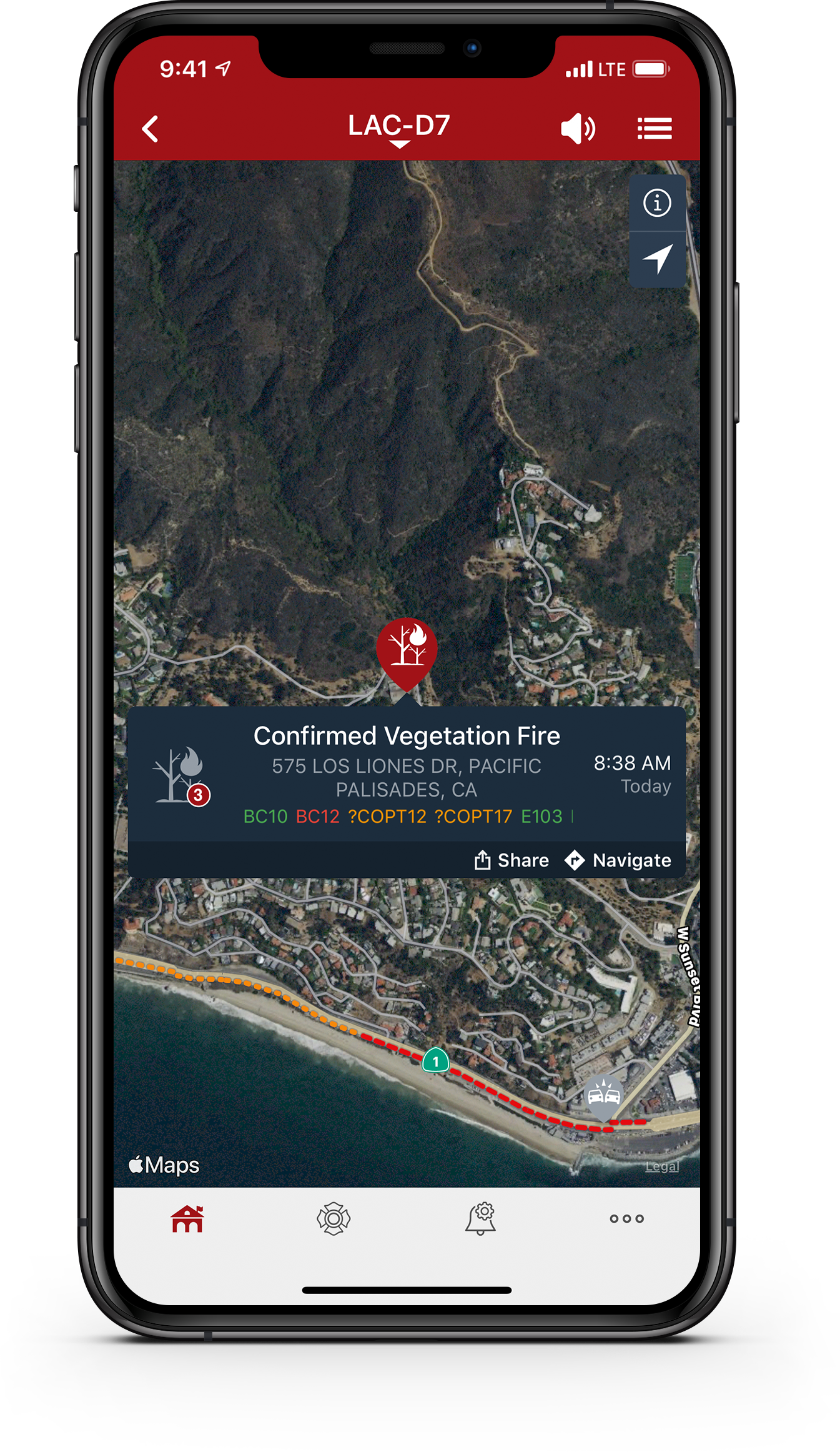 PulsePoint Respond Incident Map screen.