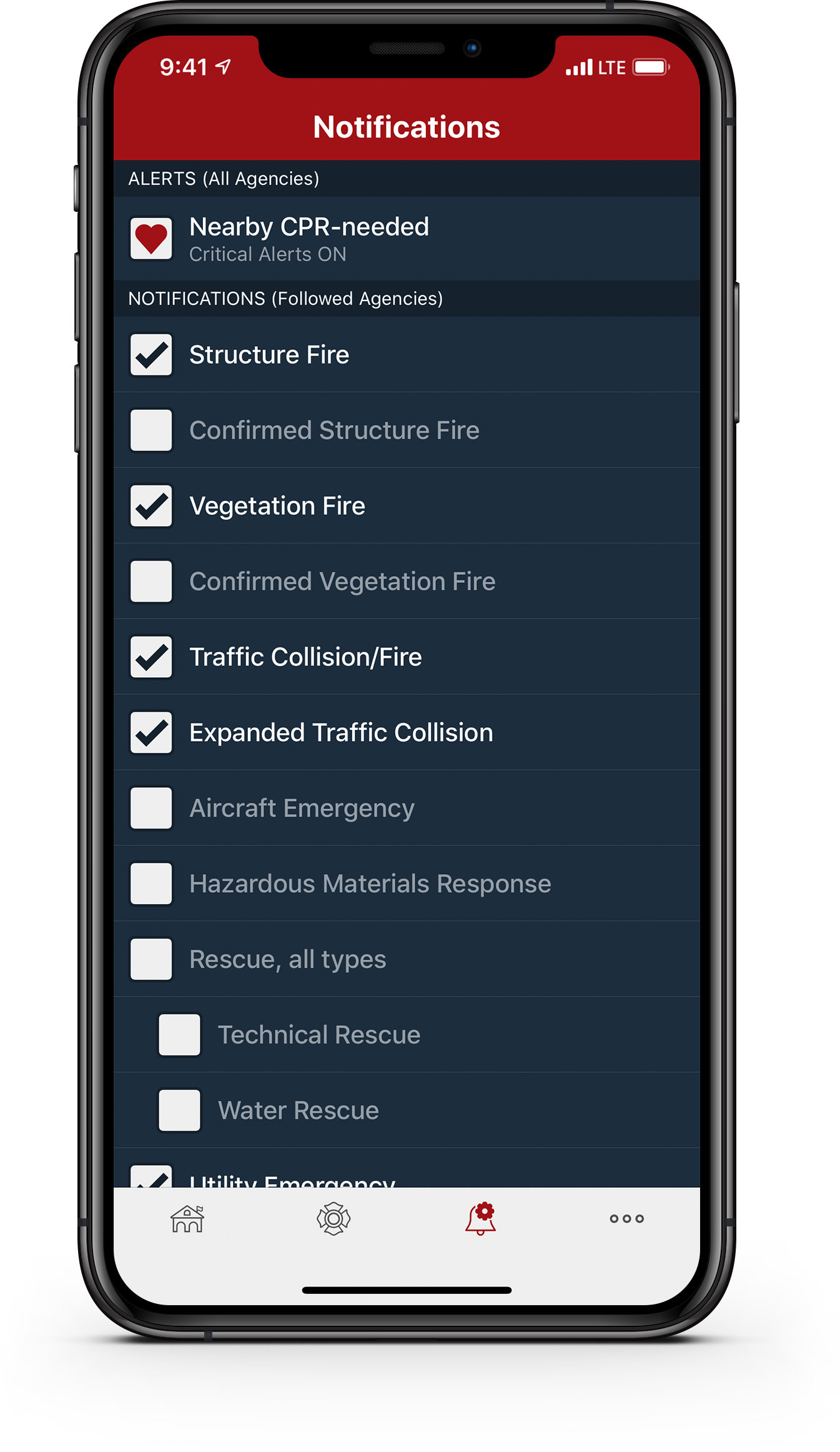 PulsePoint Respond Notifications Settings screen.