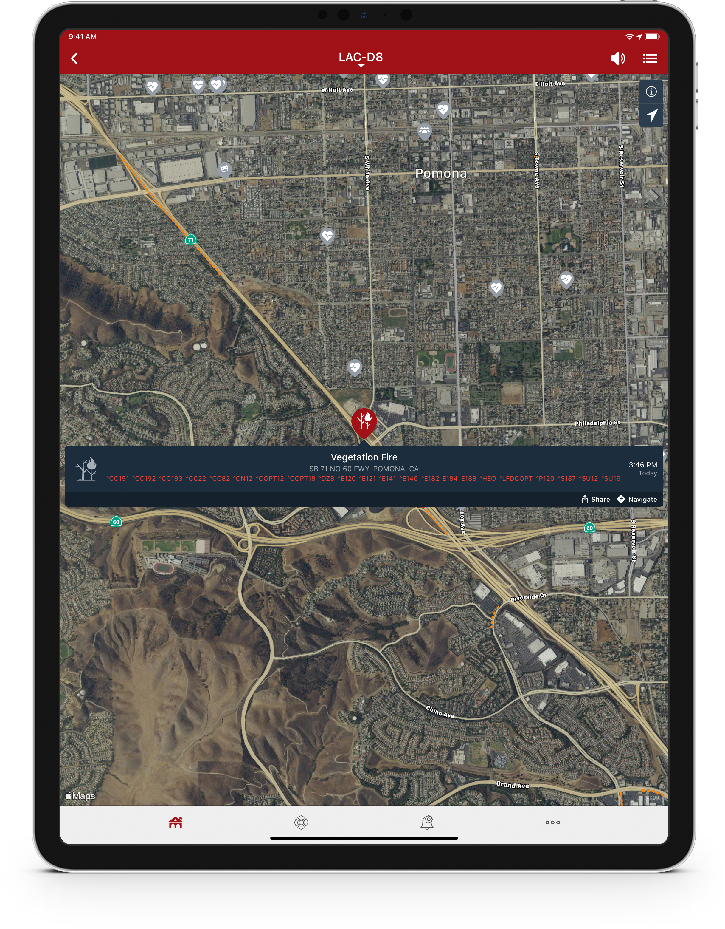 PulsePoint Respond Incident Map on iPad.