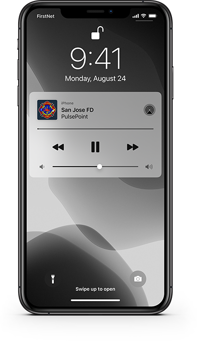 PulsePoint Respond Lock screen audio controls.