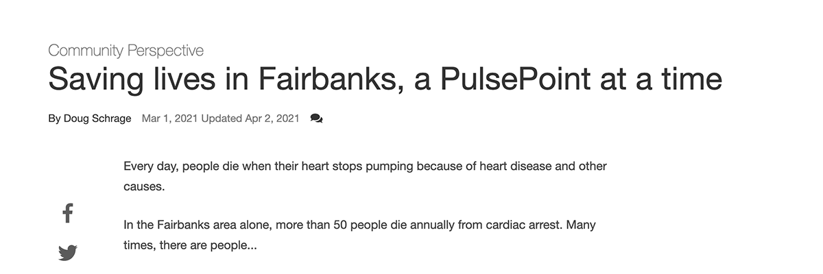 Screenshot of Fairbanks Daily New-Miner article.